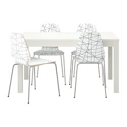 BJURSTA /  VILMAR table and 4 chairs, striped black, white Length: 180 cm Min. length: 140 cm Max. length: 220 cm