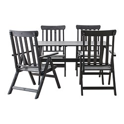 ÄNGSÖ table + 4 reclining chairs, outdoor, black stained black-brown stained black-brown