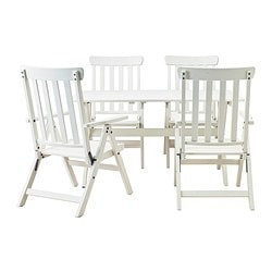 ÄNGSÖ table+4 reclining chairs, outdoor, white stained white