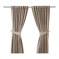 BLEKVIVA curtains with tie-backs, 1 pair, beige Length: 300 cm Width: 145 cm Weight: 2.77 kg