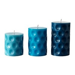 BEFINTLIG scented block candle, set of 3, turquoise