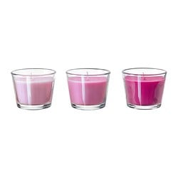 BRÄCKA scented candle in glass, pink Mint candy, pink Height: 5.5 cm Burning time: 17 hr Package quantity: 3 pieces