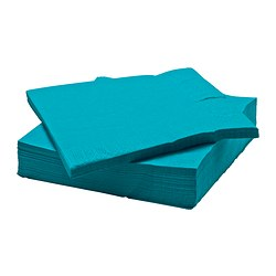 "FANTASTISK paper napkin, turquoise Length: 15 ¾ "" Width: 15 ¾ "" Package quantity: 50 pack Length: 40 cm Width: 40 cm Package quantity: 50 pack"