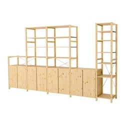 "IVAR 5 sections with shelves/cabinets, pine Width: 153 1/8 "" Depth: 19 5/8 "" Height: 89 "" Width: 389 cm Depth: 50 cm Height: 226 cm"