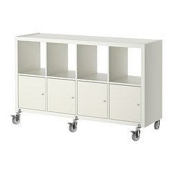 KALLAX shelf unit on casters with 4 doors, white