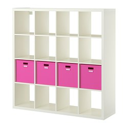 "KALLAX / TJENA shelf unit with 4 inserts, white Width: 57 7/8 "" Depth: 15 3/8 "" Height: 57 7/8 "" Width: 147 cm Depth: 39 cm Height: 147 cm"