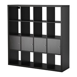 KALLAX, Shelf unit with 4 inserts, black-brown