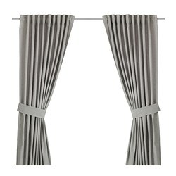 INGERT, Curtains with tie-backs, 1 pair, gray