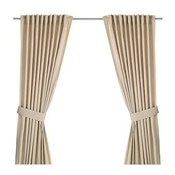 INGERT curtains with tie-backs, 1 pair, beige