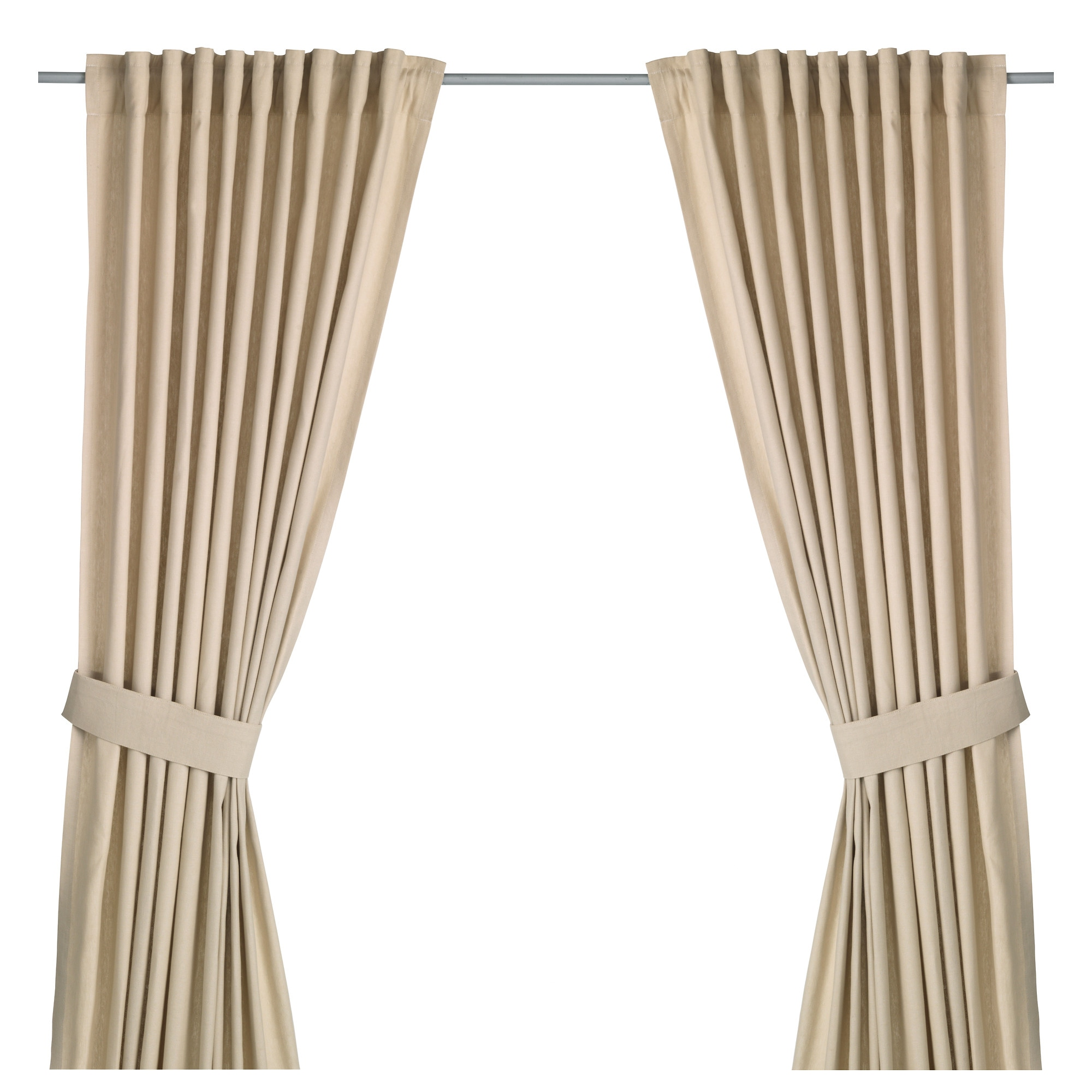 INGERT Curtains With Tie Backs, 1 Pair, Beige Length: 98  Part 34