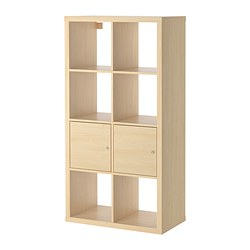 KALLAX shelving unit with doors, birch effect Width: 77 cm Depth: 39 cm Height: 147 cm