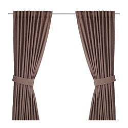 INGERT curtains with tie-backs, 1 pair, brown Length: 300 cm Width: 145 cm Weight: 2.90 kg