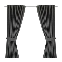 INGERT, Curtains with tie-backs, 1 pair, dark gray