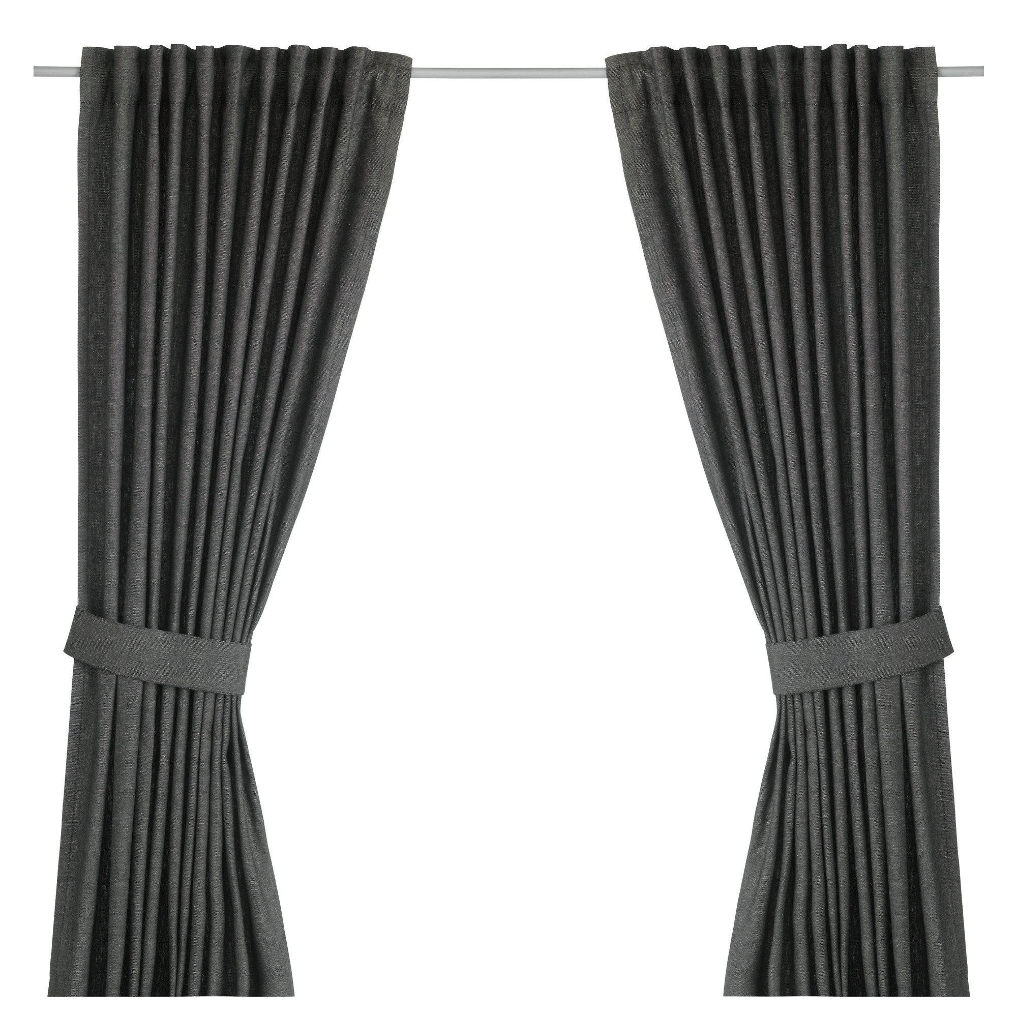 INGERT curtains with tie backs  1 pair  dark gray Length  98. Curtains   Living Room   Bedroom Curtains   IKEA