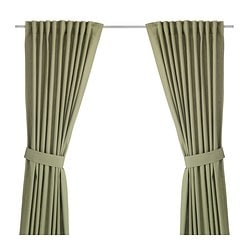 INGERT curtains with tie-backs, 1 pair, green