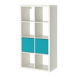 KALLAX / DRÖNA shelving unit with 2 inserts, white Width: 77 cm Depth: 39 cm Height: 147 cm