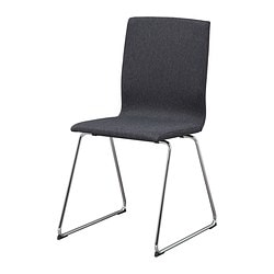 VOLFGANG chair, Dansbo dark grey, chrome-plated Tested for: 110 kg Width: 50 cm Depth: 45 cm