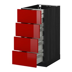 METOD /  MAXIMERA base cab 4 frnts/4 drawers, Ringhult red, black Width: 40.0 cm Depth: 61.8 cm Frame, depth: 60.0 cm