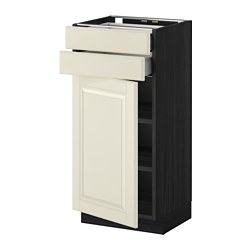 METOD /  MAXIMERA base cabinet w door/2 drawers, Bodbyn off-white, black Width: 40.0 cm Depth: 39.5 cm Frame, depth: 37.0 cm