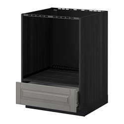 METOD /  FÖRVARA base cabinet for oven with drawer, Bodbyn grey, black Width: 60.0 cm Depth: 61.8 cm Frame, depth: 60.0 cm
