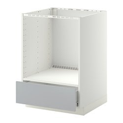 METOD /  FÖRVARA base cabinet for oven with drawer, Veddinge grey, white Width: 60.0 cm Depth: 61.6 cm Frame, depth: 60.0 cm