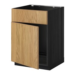 METOD base cabinet f sink w door/front, Hyttan oak, black Width: 60.0 cm Depth: 61.8 cm Frame, depth: 60.0 cm