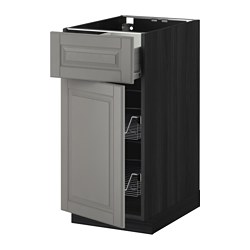 METOD /  FÖRVARA base cab w wire basket/drawer/door, Bodbyn grey, black Width: 40.0 cm Depth: 61.9 cm Frame, depth: 60.0 cm
