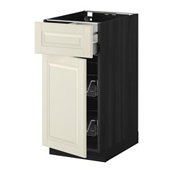 METOD /  MAXIMERA base cab w wire basket/drawer/door, Bodbyn off-white, black Width: 40.0 cm Depth: 61.9 cm Frame, depth: 60.0 cm