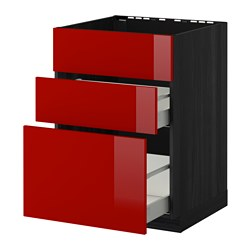 METOD /  MAXIMERA base cab f sink+3 fronts/2 drawers, Ringhult red, black Width: 60.0 cm Depth: 61.8 cm Frame, depth: 60.0 cm