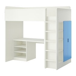 STUVA loft bed combo w 2 shelves/2 doors, white, blue Height: 193 cm Bed width: 99 cm Bed length: 207 cm