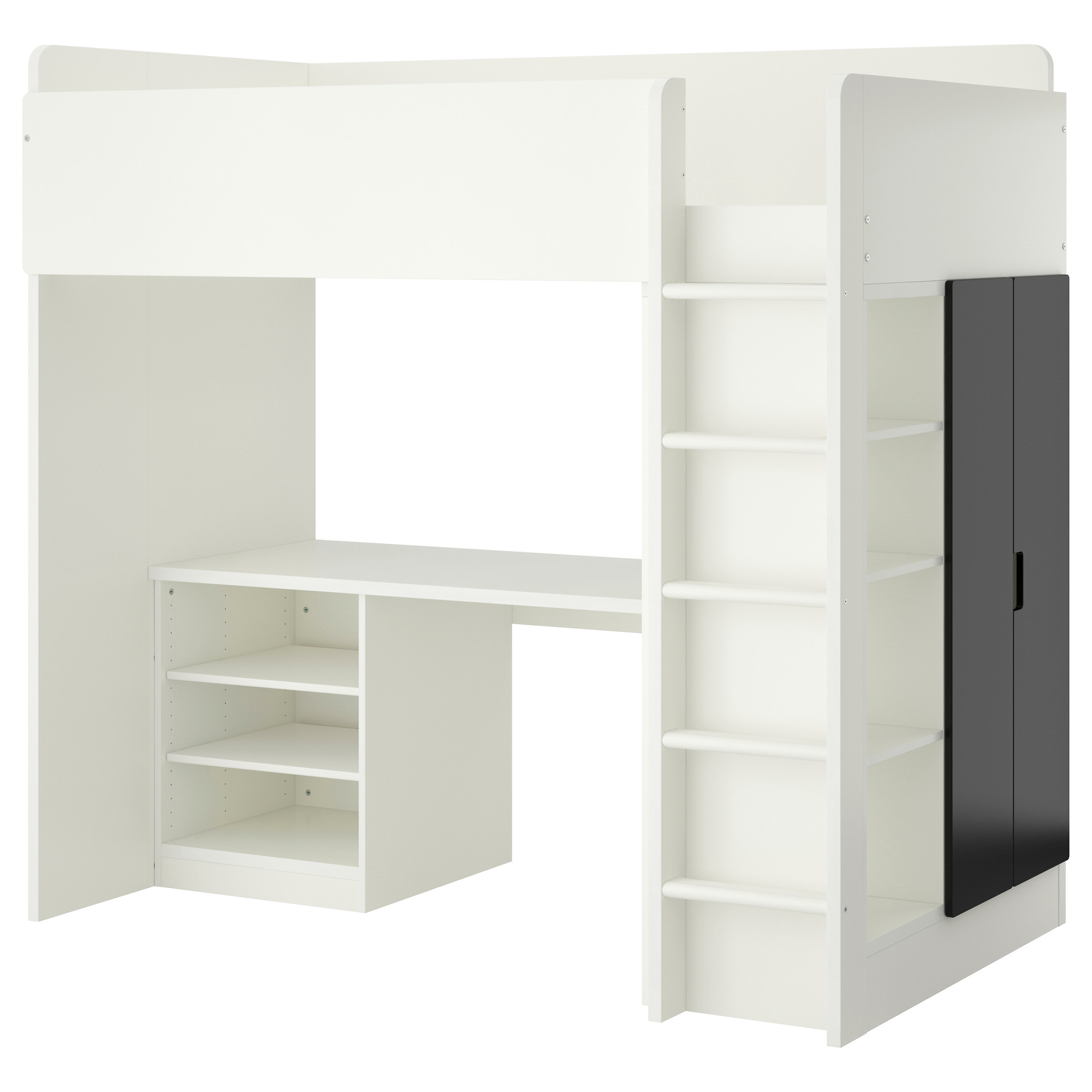 STUVA Loft Bed With 2 Shelves/2 Doors, White, Black Height: 76