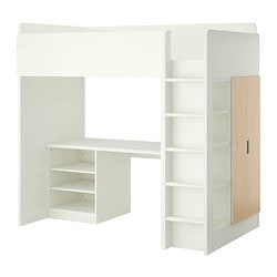 "STUVA loft bed with 2 shelves/2 doors, white, birch Height: 76 "" Bed width: 41 1/2 "" Bed length: 77 1/2 "" Height: 193 cm Bed width: 105.5 cm Bed length: 197 cm"