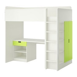 "STUVA loft bed with 1 drawer/2 doors, white, green Height: 76 "" Bed width: 41 1/2 "" Bed length: 77 1/2 "" Height: 193 cm Bed width: 105.5 cm Bed length: 197 cm"