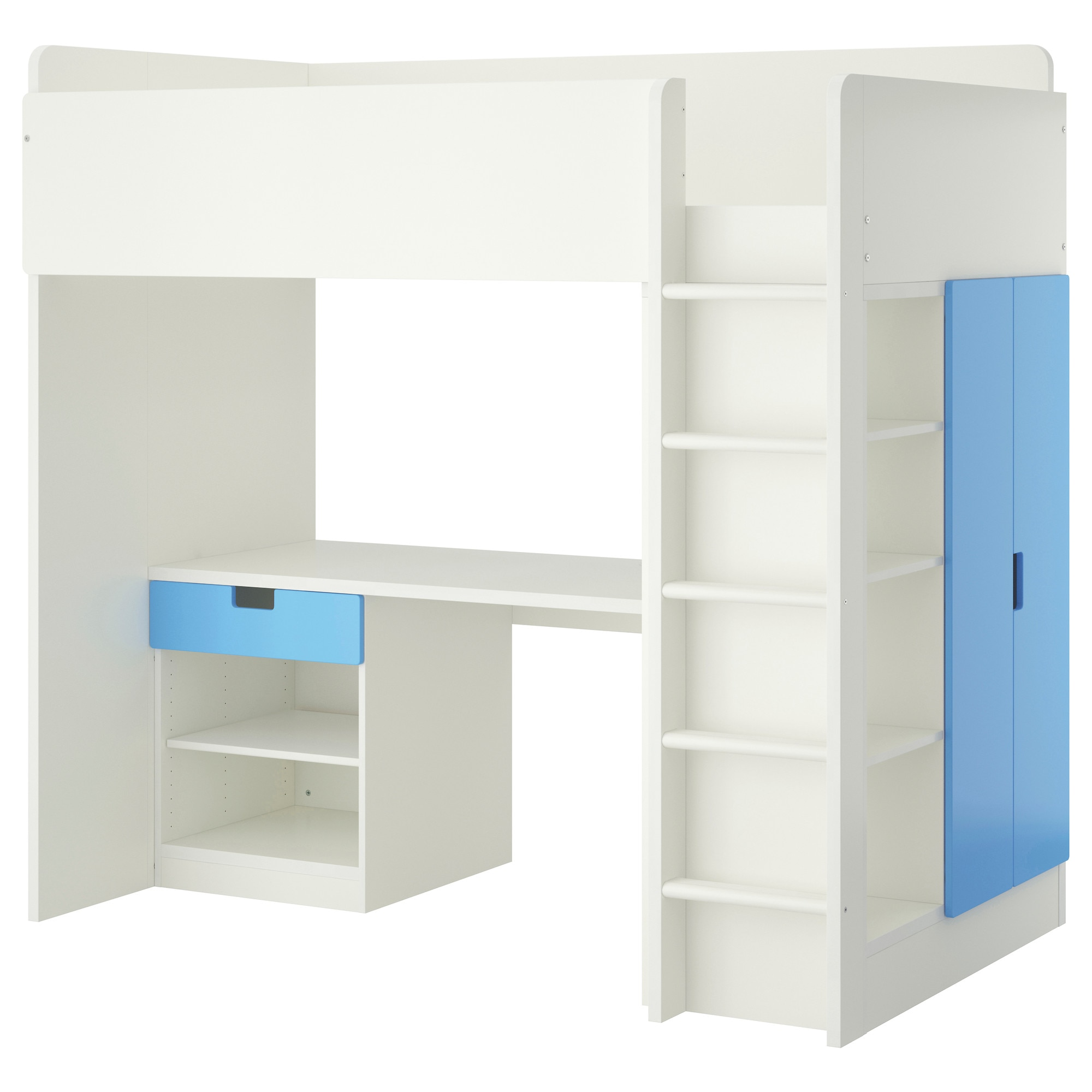 Bunk bed with desk underneath ikea - Stuva Loft Bed With 1 Drawer 2 Doors White Blue Height 76