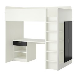 "STUVA loft bed with 1 drawer/2 doors, white, black Height: 76 "" Bed width: 41 1/2 "" Bed length: 77 1/2 "" Height: 193 cm Bed width: 105.5 cm Bed length: 197 cm"