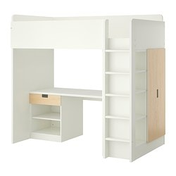 STUVA loft bed combo w 1 drawer/2 doors, birch, white Height: 193 cm Bed width: 99 cm Bed length: 207 cm