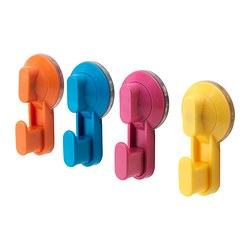 STUGVIK, Hook with suction cup, assorted colors