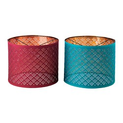 NYMÖ lamp shade, copper-colour, wine red/turquoise Diameter: 37 cm Height: 30 cm