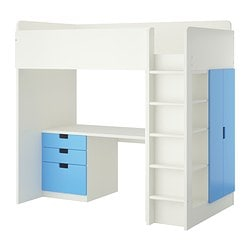 STUVA loft bed combo w 3 drawers/2 doors, white, blue Height: 193 cm Bed width: 99 cm Bed length: 207 cm