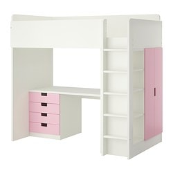 "STUVA loft bed with 4 drawers/2 doors, pink, white Height: 76 "" Bed width: 41 1/2 "" Bed length: 77 1/2 "" Height: 193 cm Bed width: 105.5 cm Bed length: 197 cm"