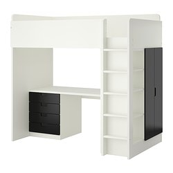 STUVA loft bed combo w 4 drawers/2 doors, white, black Height: 193 cm Bed width: 99 cm Bed length: 207 cm