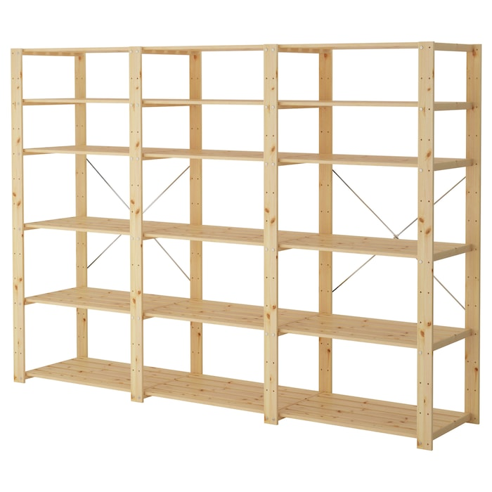 Ikea HEJNE 3 section shelving unit, softwood, 90 1/2x19 5/8x67 3/8