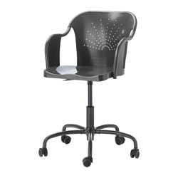 "ROBERGET swivel chair, gray Tested for: 243 lb Width: 23 5/8 "" Depth: 25 5/8 "" Tested for: 110 kg Width: 60 cm Depth: 65 cm"