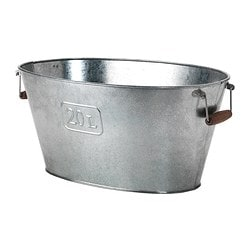 GRÄSLÖK plant pot, oval galvanised galvanised, in/outdoor oval Length: 53 cm Width: 35 cm Max. diameter flowerpot: 21 cm