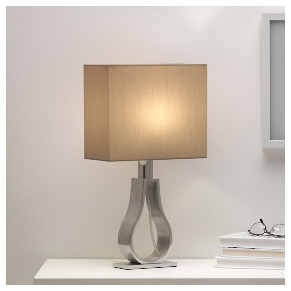 Klabb Table Lamp With Led Bulb Light Brown Nickel