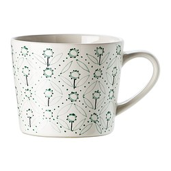 ENIGT mug, green, off-white Height: 8 cm Volume: 36 cl