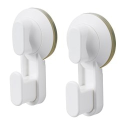 STUGVIK hook with suction cup, white Maximum load/hook: 3 kg Package quantity: 2 pack