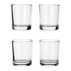 "UPPEHÅLL votive candle holder, clear glass Diameter: 2 "" Height: 2 ¼ "" Package quantity: 4 pack Diameter: 5 cm Height: 6 cm Package quantity: 4 pack"