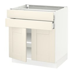 SEKTION base cabinet with 2 doors/2 drawers, white Maximera, Grimslöv off-white