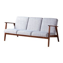 EKENÄSET three-seat sofa, Isunda grey Width: 174 cm Depth: 73 cm Free height under furniture: 28 cm